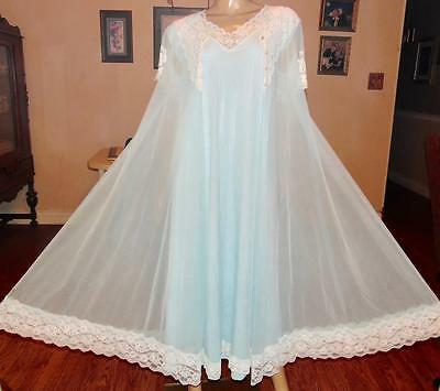 Vtg Levoys Long Dbl Layer Chiffon Nylon Lace Nightgown & Peignoir Set,sm-Bust 40