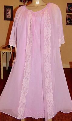 Vtg Deena Long Dbl Layer Chiffon Nylon Lace Nightgown & Peignoir Set,med-Bust 44