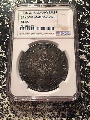 1616-WA German States Saxe-Middle-Weimar 1 Thaler NGC XF45 Lot#G189 8 Brothers