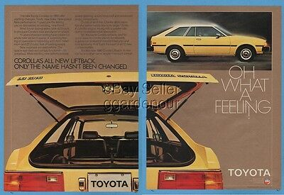 1980 Toyota Corolla SR-5 Liftback yellow vintage car photo print ad