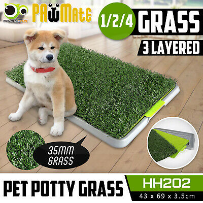 Indoor Dog Pet Potty Training Toilet Portable Loo Clean Pad Tray - 1/2/4 Grass