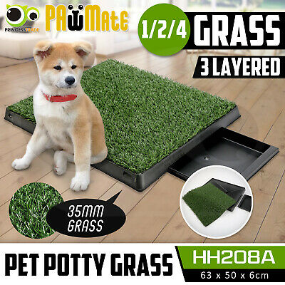 Indoor Dog Pet Potty Training Portable Toilet Large Loo Pad Tray 1/2/4 Grass Mat