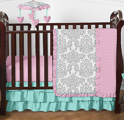 Boutique Turquoise Pink and Grey Girl Cute Bumperless 4 Pc Crib Baby Bedding Set