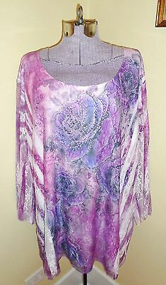 Women's Plus Size 4X Essentials Lace Embellished Blouse Top Tunic