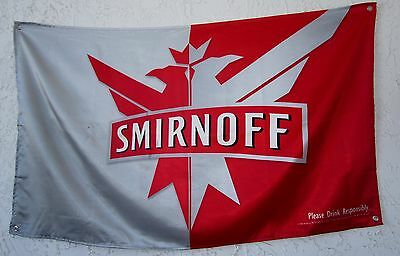 """Smirnoff Vodka Red and Gray Flag Banner Man Cave Bar 34"""" x 58"""" In Great Cond"""