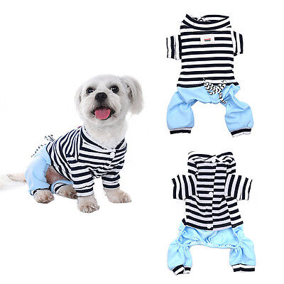 Summer Pet Striped Pajamas Small Dog Cat Clothes Puppy Jumpsuit Apparel Costume