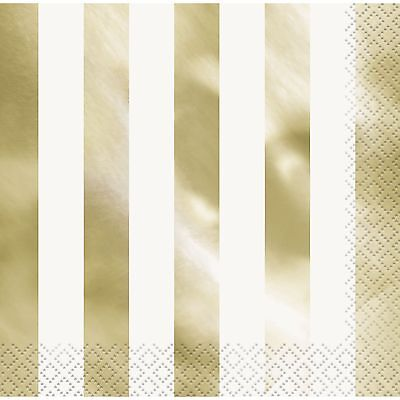Gold Foil Striped Large Luncheon Paper Napkins Serviettes (Pack Of 16) Party
