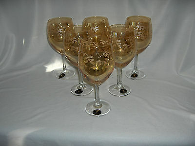 6 Vintage Crystal Fumo Goblets Hand Made Italy Amber Etched Leaves MINT
