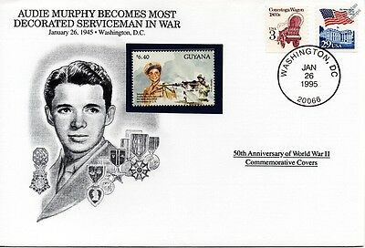 WWII 1945 AUDIE MURPHY - Most Decorated Soldier Stamp Cover (USA / Danbury Mint)