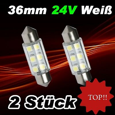 2x SMD LED Soffitte Lampe C5W 36mm 24V Xenon weiss hell Innenraum Beleuchtung