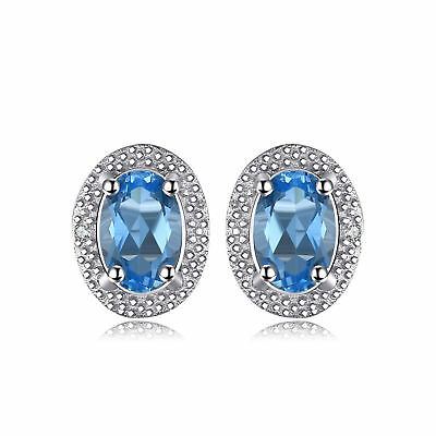 JewelryPalace 1ct Genuine Swiss Blue Topaz Stud Earrings 925 Sterling Silver