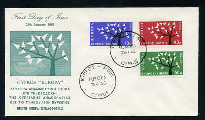 "Cyprus 1963 ""Europa"" complete set of 3 on FIRST DAY COVER. SG 224-226."