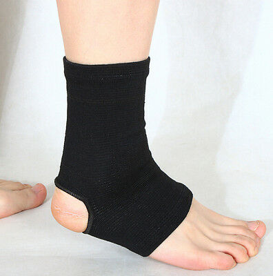 Pair Black Ankle Foot Brace Support Pads MMA Sport Gym Pain Injury Relief