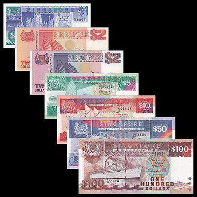 Singapore SET 7 PCS, 1 2 2 5 10 50 100 DOLLARS, Boat, AUNC-UNC