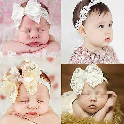 Baby Kids Headband Rhinestone Faux Pearl Lace Bow Hair Bands Props Photography
