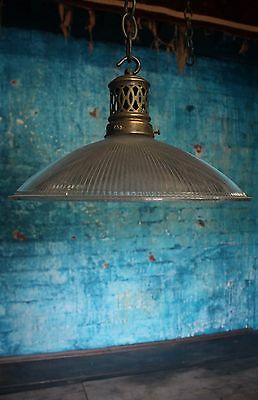 Pieced Brass & Prismatic Glass Holophane Style Parisian Pendant Light Lamp