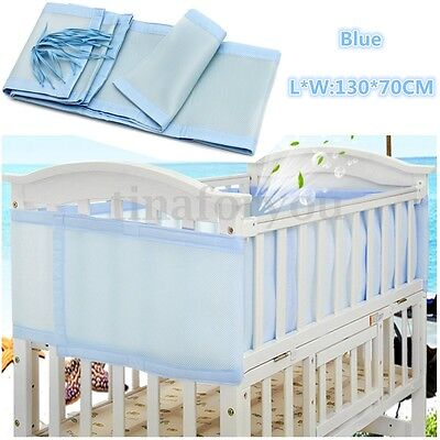 130x70cm Blue Breathable Infant Baby Bed Mesh Bumper Crib Liner Protection Pad