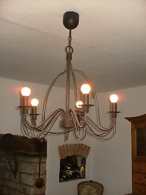 Vintage Cast Iron Candle Chandelier/ Hanging Candleabra 5 Branches
