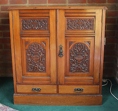 19th 20th Century Mahogany Carved Side Cabinet