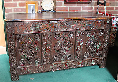 18th 19th Century Oak Coffer Blanket Chest