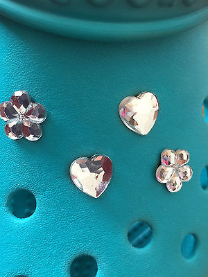 4 Diamond Gem Heart & Flower Shoe Charms For Crocs & Jibbitz Wristbands.
