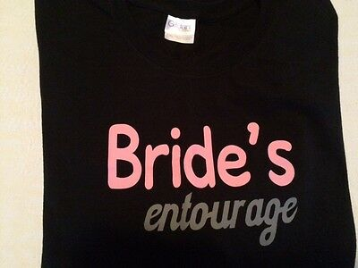 BRIDE'S entourage T-SHIRT Black Pink & Gray SIZE 2 XL