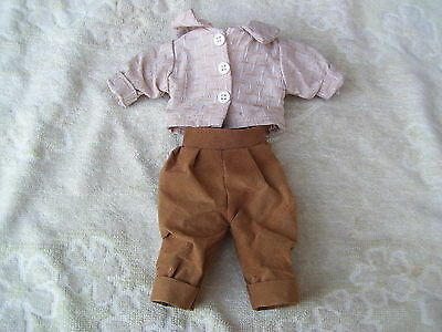 Alte Puppenkleidung Brown Pants Shirt Outfit vintage Doll clothes 25 cm Boy