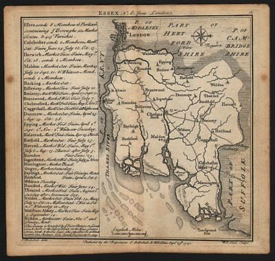 Antique county map of Essex by Badeslade & Toms. East orientation 1742 old