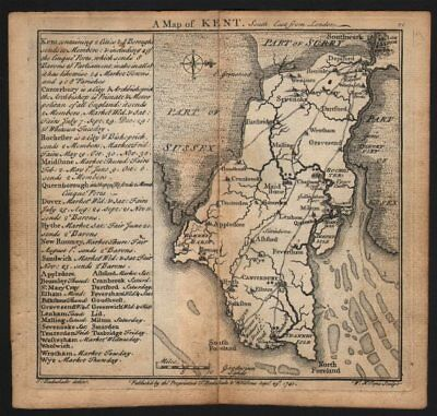 Antique county map of Kent by Badeslade & Toms. West orientation 1742 old