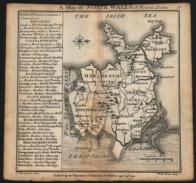 Antique county map of North Wales by Badeslade & Toms. West orientation 1742