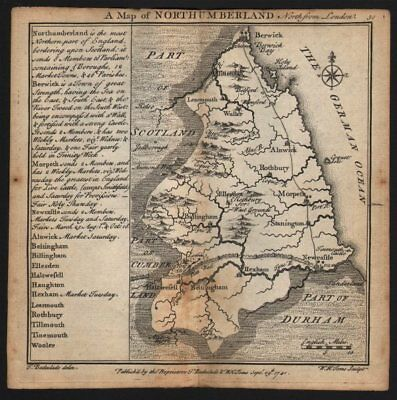 Antique county map of Northumberland by Badeslade & Toms 1742 old