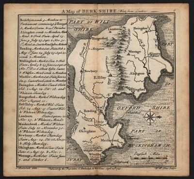 Antique county map of Berkshire by Badeslade & Toms. West orientation 1742