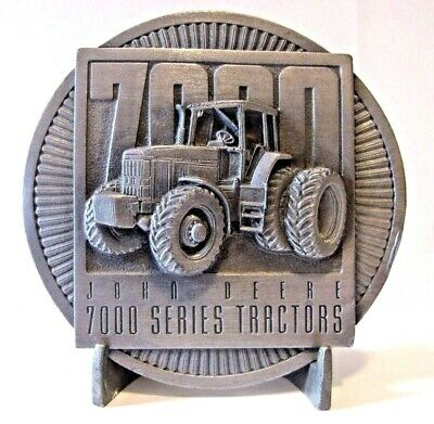 John Deere 7800 7700 7600 7400 7200 7000 Series Tractor Pewter Belt Buckle 1994