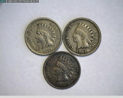 1859, 1863, 1907 Indian Head Cents -  NICE * Take a LooK *