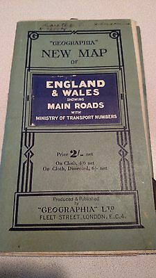 Vintage 1940's Pocket Map Of England & Wales Wwii