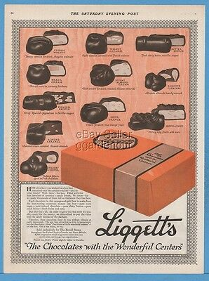1920 Liggett's Chocolate With the Wonderful Centers Candy Box Rexall Stores Ad