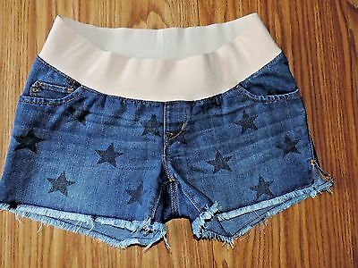 OLD NAVY Maternity Low Rise STAR Print Stretch Denim Jean Shorts! SZ 6 Raw Hems