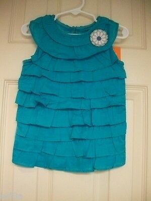 Nwt Gymboree Baby Girl Tide Pool Light Teal Ruffle Tank Top Shirt Size 3T