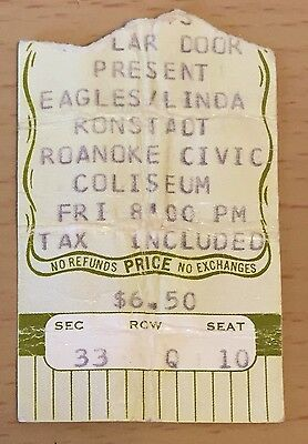 1975 The Eagles Linda Ronstadt Roanoke Concert Ticket Stub One Of These Nights