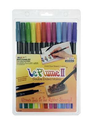 """Le Plume II Double-Ended Markers With Brush & Fine Tip, """"Bright Set""""~ NEW"""