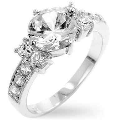 Five Stone 18K White Gold GP Simulated Diamond Size 10 Engagement Ring G23