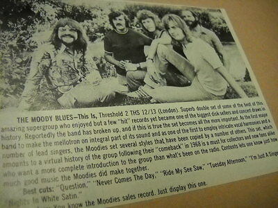 MOODY BLUES original 1974 music biz promo only album review THIS IS