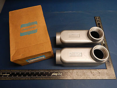 """Lot of 2 Crouse-Hinds LB69 Condulet Conduit Outlet Body 2""""Inch Mark 9 Body"""