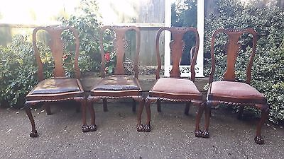 Set of 4 Victorian chairs - solid mahogany - project