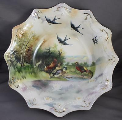 """RS Prussia Antique Red Mark 11"""" Serving Bowl Barnyard Fowl Bluebird Water Lily"""