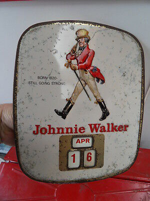 Vintage advertising pub calendrier plaque tole 50.60s' Whisky Johnnie Walker