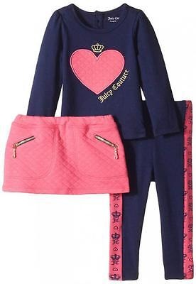 Juicy Couture Infant Girls Navy Top 3pc Legging & Skirt Set Size 24M