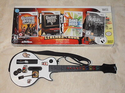 Nintendo Wii Les Paul wireless guitar boxed and 4 games