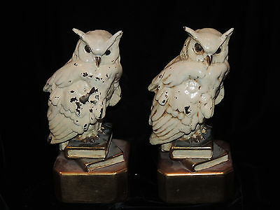Antique Pair of Marion Bronze Snow Owls Perched On Books Bookends