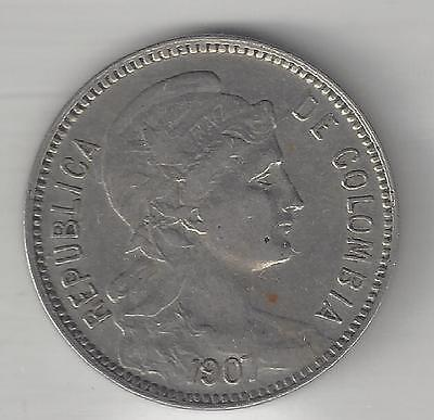Columbia, 1907, 5 Peso, Copper Nickel, Km#199,  Extra Fine,  Inflationary Issue